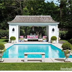 Design the Best Beautiful and Stunning Boxwood Garden Now – Hallstrom Home – Pool 2020 Pool House Designs, Backyard Pool Designs, Swimming Pools Backyard, Backyard Pergola, Pool Landscaping, Pergola Ideas, Backyard Cabana, Backyard With Pool, Landscaping Blocks