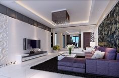 Amazing Wallpaper Or Large Embedded Wall Tv Plus Luxurious Purple Living Room Sofa And Black Fur Area Rug