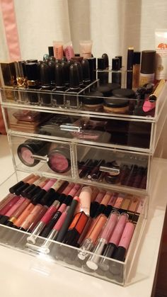 """It's hard not to be in love with this dreamy, organized Makeup system from Vanessa with the blog Blush & Gray! Here's what she thinks about our Luxe Acrylic Modular System: """"This has made me so happy. I am so pleased with the outcome. What a relief to have my everyday items all in once place again, displayed attractively and clearly seen."""""""