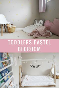 Toddlers pastel bedroom complete with teepee bed