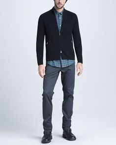 Mock-Neck Zip Sweater, Plaid Sport Shirt & Slim Twill Pants. Win Neiman Marcus discount Gift Cards on http://www.cityhits.com and use them towards fall looks like this one. #mens #fashion #fall2013
