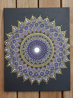 Arte de pared de Mandala mandala pintura/Bohemia/dot trabajo / dotillism / pintura / 16 x 20 / meditación / yoga/espiritual/flor/púrpura/oro