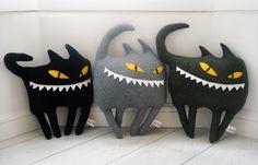 Boxcat Decorative Pillow - Black Cat - Cushion. $47.00, via Etsy.