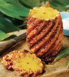 "Impress your family and friends by grilling fresh pineapple at your next barbeque or summer Hawaiian luau party! Create a memorable occasion with this easy to do dish that tastes so ""ono"", the Hawaiian word for delicious. Roasted Pineapple, Pineapple Recipes, Fruit Recipes, Bbq Pineapple, Yummy Recipes, Recipies, Best Grill Recipes, Grilling Recipes, Bon Appetit"