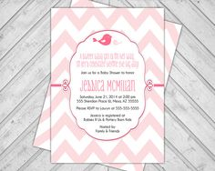 Pink Baby Shower Invitations Chevron baby by alittletreasure, $15.00