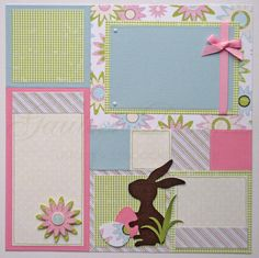 scrapbook pages - Happy Easter -12x12 Scrapbook Paper Crafts, Baby Scrapbook, Scrapbook Cards, Scrapbook Photos, Scrapbook Sketches, Scrapbook Page Layouts, Scrapbooking Ideas, Happy Easter, Easter Bunny
