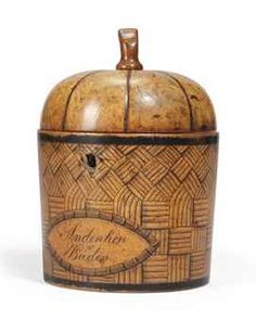 ANTIQUE PENWORK DECORATED FRUITWOOD TEA-CADDY, GERMAN, EARLY 19TH CENTURY