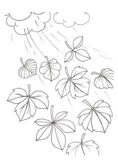 A colorier, des feuilles d'automne emportées par le vent