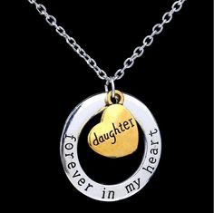 """""""Forever In My Heart"""" Hand Stamped Charm Necklace [4 variations]"""