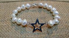 Pulsera de perla cultivada c/estrella de plata $$$