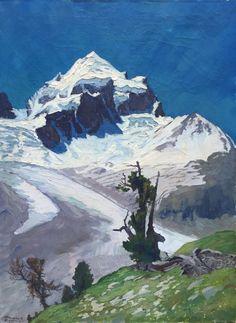 Hanns Herzing (1890 - 1971)  Piz Roseg, Bernina Massif, Engadine, Switzerland, 1930