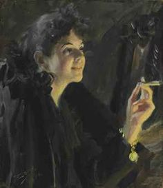 Anders Zorn (Swedish, 1860-1920), 'The Cigarette Girl', oil on canvas.