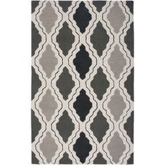Rizzy Home Country Collection Hand-tufted New Zealand Wool Accent Rug (2' x 3') (Gray), Grey, Size 2' x 3' (Natural Fiber, Trellis)