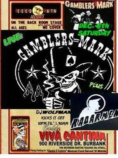 GAMBLERS MARK! With Radarmen and DJ Rockin Vic  Dec. 6th Sat a Reverend Martini show at Codys Viva Cantina