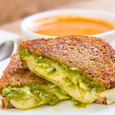 Three Cheese Pesto Avocado Grilled Cheese Sandwich is a great way to celebrate cheese with a full flavored and perfectly toasted sammie Turkey Burgers, Salmon Burgers, Avocado Recipes, Healthy Recipes, Grilled Cheese Avocado, Vegetarian Comfort Food, Sammy, Pepper Jack Cheese, Salted Butter