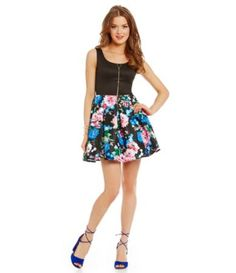 Teeze Me Scuba-Bodice Floral Skirt Dress #Dillards