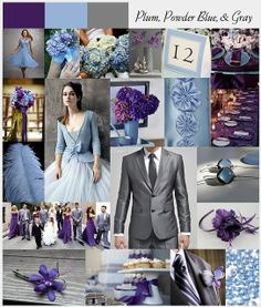 plum, powder blue and grey wedding opposite yhough, blue flowers purple dresses