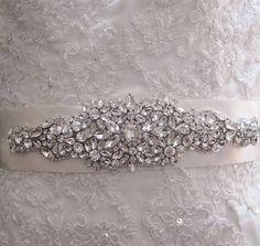 Bridal Sash Beaded Sash Wedding Dress Sash Crystal by Tatishotties,