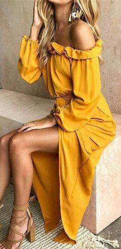 Dresd платья فستان vestir ドレス abito पोशाक elbise Yellow Ruffle Off The Shoulder Maxi Dress ✨ Boho Fashion, Fashion Outfits, Womens Fashion, Fashion Clothes, Cheap Fashion, Dress Clothes, Style Fashion, Casual Clothes, Trendy Fashion