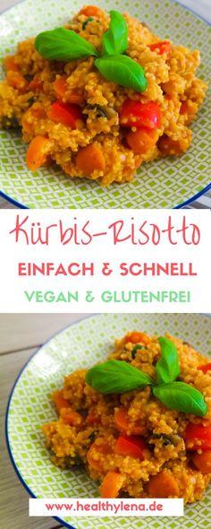 Veganes Kürbis-Risotto mit wenigen Zutaten. Das perfekte Gericht mit Kürbis für den Herbst: glutenfrei und fettarm.