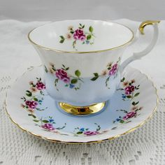 Royal Albert Blue Tea Cup and Saucer with Small Pink Roses and Flowers, Vintage Bone China, Pattern Number 4360, Royal Albert Cup and Saucer