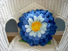 Rich shades of blue  fleece flower pillow with quilted center. $35.00, via Etsy.