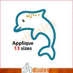 Dolphin Applique Design  Machine Embroidery Design
