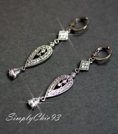 Victorian Style Bridal Earrings Vintage Crystal by simplychic93