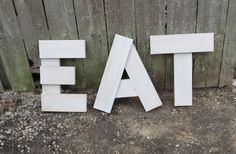 """Hand Made Shabby Wood  sign Large EAT  3 letters  you pick colors Customized Wall Art Decor Kitchen vintage distressed 17"""" tall"""