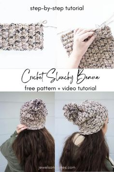 Keep your ears nice and warm with this slouchy crochet beanie! This free crochet slouchy beanie pattern is cozy, comfy, and totally beginner-friendly. #crochet #freecrochetpattern #crochetbeanie #beanie Crochet Slouchy Beanie Pattern, Crochet Cardigan, Easy Crochet, Free Crochet, Crochet Hats, Crochet Patterns For Beginners, Yarn Projects, Yarn Crafts, Free Pattern