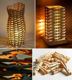 DIY Clothespin's Lamp - Find Fun Art Projects to Do at Home and Arts and Crafts Ideas