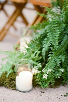 Ceremony - Natural look with greenery and candles (d)