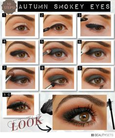 Smokey Eyeshadow Tutorial with shades of green, brown and gold. Perfect for the Fall!