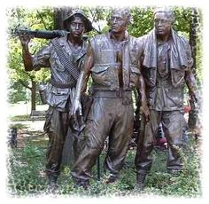 This life size bronze statue depicting three young servicemen is located near the Vietnam Veterans Memorial Wall.