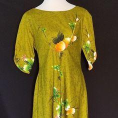 43541d2e1 Vintage Penneys Hawaii 70s Dress Olive Green Hibiscus Flowers Hawaiian Aloha
