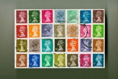 colorful original art collage with used Queen Elizabeth II postage stamps from Britain