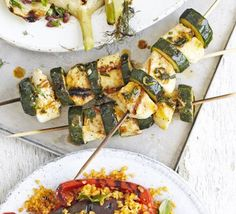 Courgette & halloumi skewers. Marinade cheese with mint, lemon and olive oil, thread onto kebab skewers with veg and chargrill