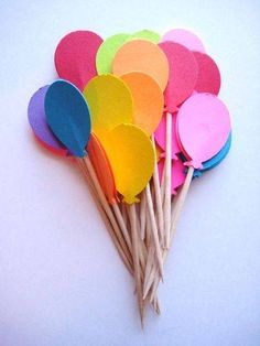 Items similar to 24 Balloon Party Picks / Die Cut Party Picks / Birthday Party Picks / Kids Party Picks / Cupcake Toppers on Etsy Cupcake Toppers, Deco Cupcake, Cupcake Party, Cupcake Picks, Paper Balloon, Balloon Cake, Balloon Cupcakes, Fondant Cupcakes, 28th Birthday