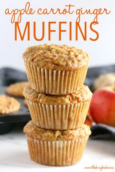 These Apple Carrot Ginger Muffins are the perfect healthier snack packed with fruit and veggies! And they're so easy to make in only one bowl! Recipe from thebusybaker.ca! #applecarrotmuffins #easymuffinrecipe #carrotgingermuffins