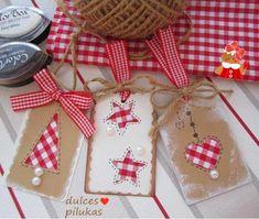 Handmade Christmas Tags using gingham fabric Christmas Tags Handmade, Handmade Gift Tags, Christmas Gift Wrapping, Christmas Paper, Christmas Decorations To Make, All Things Christmas, Christmas Crafts, Ideas, Gingham Fabric