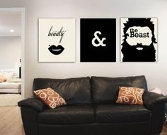 hipster wedding gifts, Beauty and the beast prints wedding gifts, bathroom signs, new couple, unique wall decor
