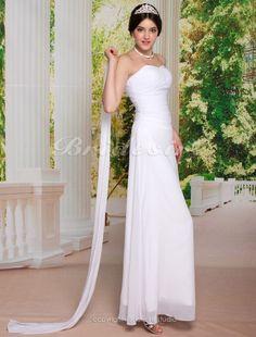 Sheath/ Column Chiffon Ankle-length Sweetheart Wedding Dress With A Wrap - $132.99