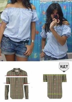 Creative and Cool Ways to Reuse Old Shirts. Refashion of a men's button front shirt into a cute women's off-the-shoulder blouse.Refashion of a men's button front shirt into a cute women's off-the-shoulder blouse. Umgestaltete Shirts, Button Up Shirts, Dress Shirts, Shirt Refashion, Diy Shirt, Diy Tank, Men's Shirt Redo, Shirt Makeover, Clothes Refashion