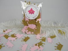 Princess Crowns Pink & Gold Glitter Confetti Baby by MorrellDecor