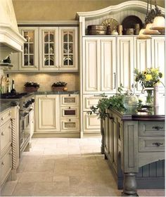 White Kitchen with Blue Island from Wm Ohs