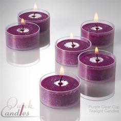 Purple Tealight Candles Unscented Clear Cup Set Of 50