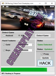 CSR Racing 2 Hack tool 2018 Download. CSR Racing 2 Hack tool. Here you can download Hack Cheats Tool for CSR Racing 2 which will support both android and iOS version of CSR Racing 2. This cheats engine has been tested and found working on many android and iOS mobiles and tabs. With this hack tool you can hack Unlimited Gold, Unlimited Keys instantly in.