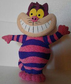 Escultura 3D de gato sonriente o Cheshire, Alicia en el pais de las maravillas, textura gamuzada