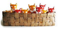 Soft foxes by Paapii - Löytö Kids Branding, Needle Felting, Baby Toys, Sheep, Kitten, Fox, Orange, Yellow, Puppies