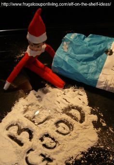Elf on The Shelf Ideas – Elf Leaves a Message in Flour and DOZENS Of other Elf on the Shelf Ideas #elfontheshelf #elfontheshelfideas #elftakeover